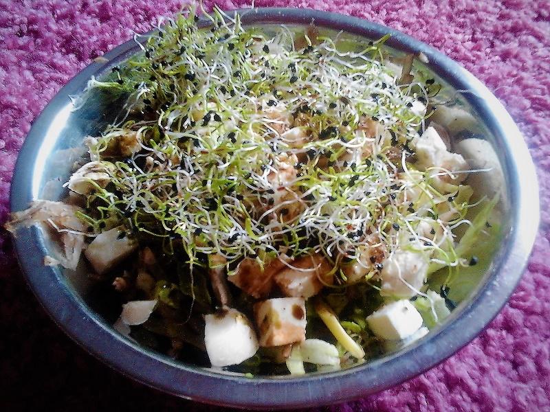 Hagymacsírás zöldsaláta csicsókával és mozarellával
